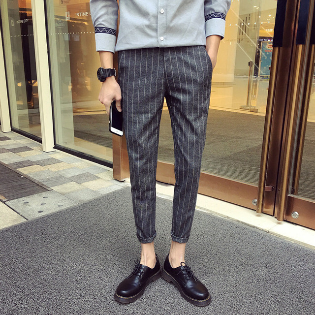 57ccc734dfe3 2017 New men s clothing plaid stripe ankle length pants tight pants casual  pants suits conical circumcised stage singer costumes