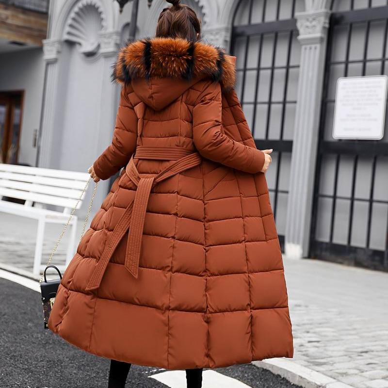 Le Col À gris Fourrure De Noir Vers Bas Tempérament 2018 longues Femelle Grand X Coton Veste Haute Parka Femmes Manteau caramel rouge Capuchon Survêtement blanc D'hiver Green army Qualité OwZqTggn8