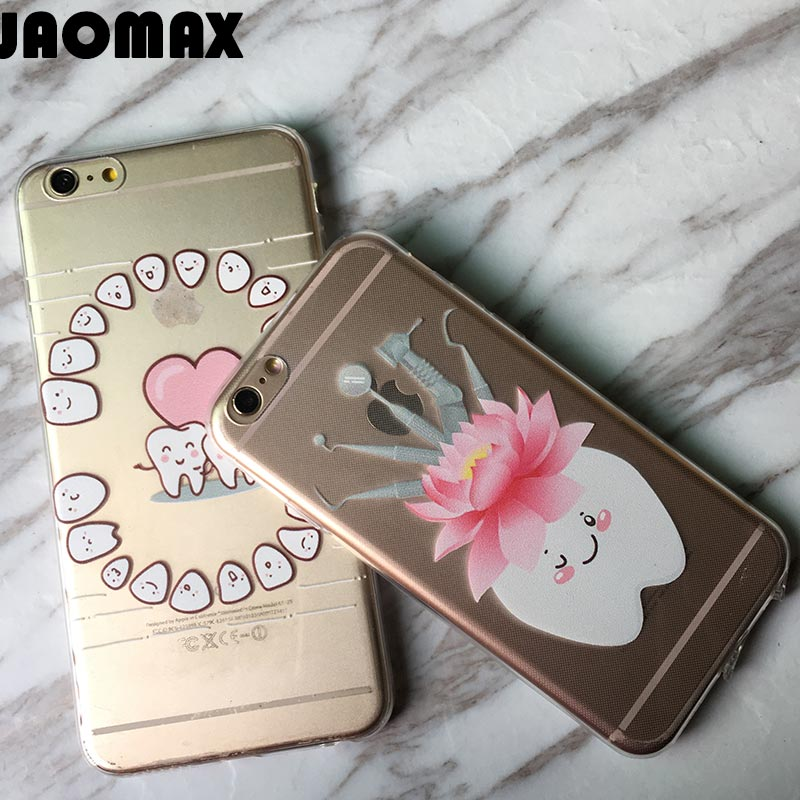 Cute Lovely Wisdom Teeth Dentist Tooth Phone Case For IPhone X Xs 7 8 Plus 6 6S Plus 5 SE Silicone Soft Transparent Cover Shell