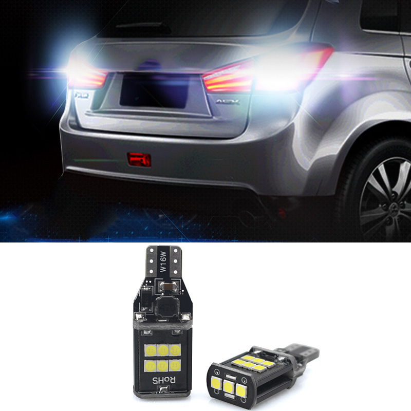 2x Canbus T15 W16W 921 912 Car LED Backup Reverse Light Bulbs for Mitsubishi Outlander Lancer 9 10 ASX Galant Pajero Colt I200 katur 2pcs t15 w16w led reverse light bulbs 920 921 912 canbus 4014 45smd highlight led backup parking light lamp bulbs dc12v