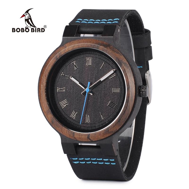 BOBO BIRD P30 Wooden Watches For Men Women Minimalist Quartz Wristwatch With Leather Strap Personalized