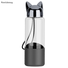 New Cute Cat Ear Durable Portable Water Bottles practical Coffee Milk Juice Kettle Creative Home Office Student Drinkware C670