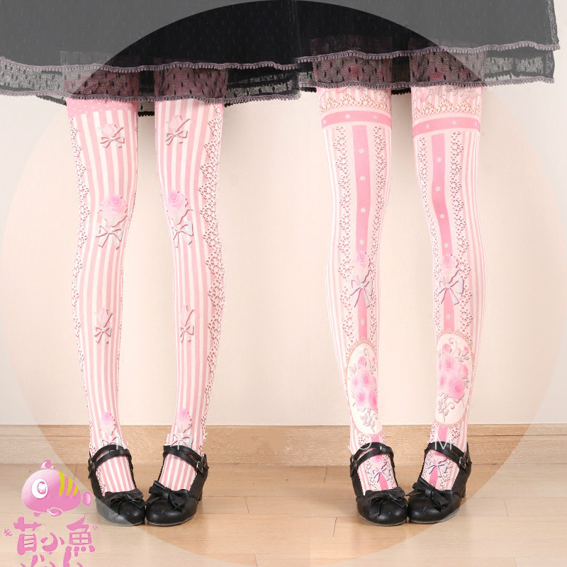 Princess sweet lolita pantyhose Japanese Princess Rose flower Personality girl Princess 100D velvet tights bk27