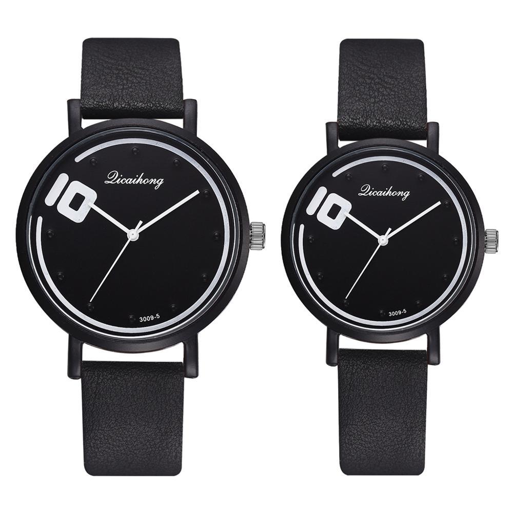 Couple Watches Set 2pcs Fashion Leather Quartz Analog Sports Wrist Watch Casual Women Man Quartz Clock Reloj Mujer Drop Shipping