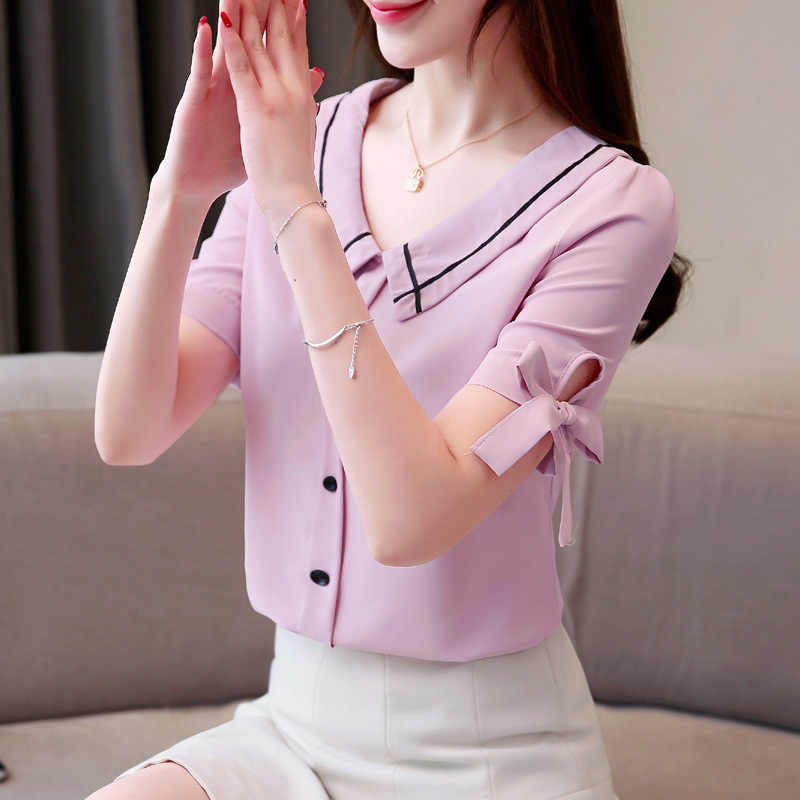 女性のブラウス 2019 ファッションネクタイ半袖ピーターパン襟オフィスシャツシフォンブラウス白シャツトップス Blusas