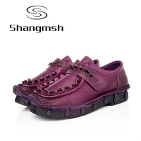 Shangmsh Plus Size 41 42 Branded Women Flats 2018 Genuine Leather Solid Flats Female Hook Loop