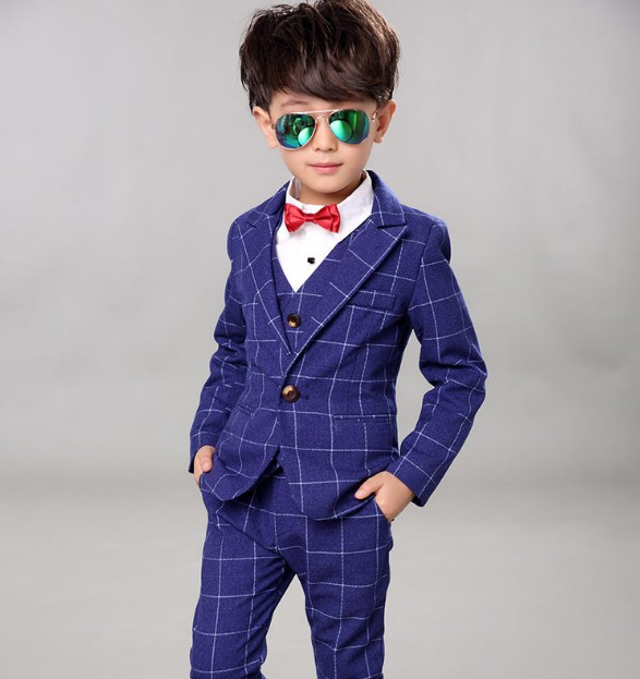 2-12Y new 2017 spring boys plaid gentlemen Western-style clothes clothing sets coat+vest+pant 3pcs boys full dress clothes sets kids spring formal clothes set children boys three piece suit cool pant vest coat performance wear western style