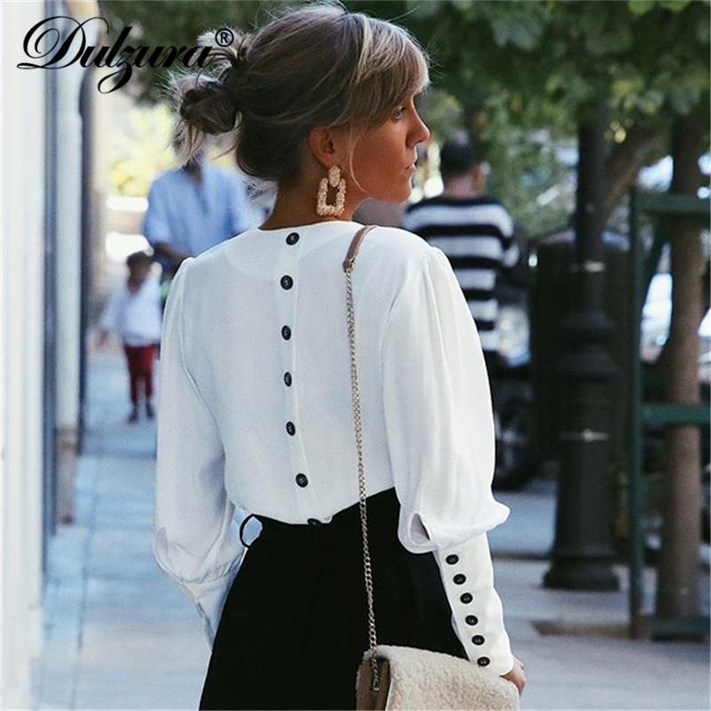 Dulzura long sleeve women   blouse     shirt   button white v neck tops 2019 autumn winter clothes elegant office lady streetwear solid