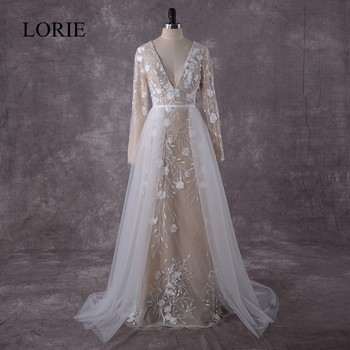 Vintage Lace Mermaid Wedding Dresses Long Sleeve 2018 LORIE Robe Champagne Luxury Bridal Dress Plunging 2 Piece Wedding Gowns