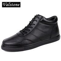 Valstone Men High Top Genuine Leather Boots Winter Warm Snow Boots Cow Leather Sneakers Leather Skate