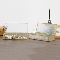 Vintage Style Brass Metal & Clear Glass Mirrored Shadow Box Jewelry Display Case w/ Hinged Top Lid