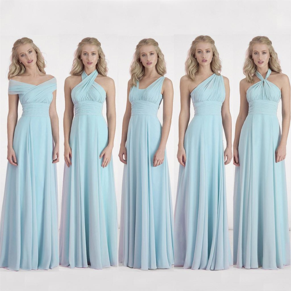 Convertible bridesmaid dress long good dresses for Baby blue wedding guest dress