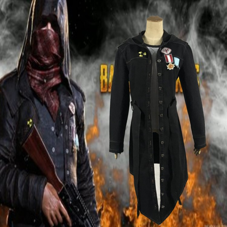 Battlegrounds Long Jacket Black Denim Hooded Coat Game Cosplay PLAYERUNKNOWN PUBG Cos Unisex Daily Jacket Coat Halloween Costume