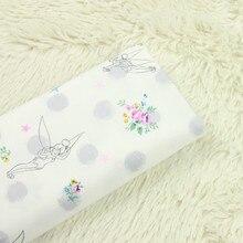 Купить с кэшбэком half meter 100% cotton twill sanded cloth soft cartoon flower fairy print fabric garment pajamas children cloth B69