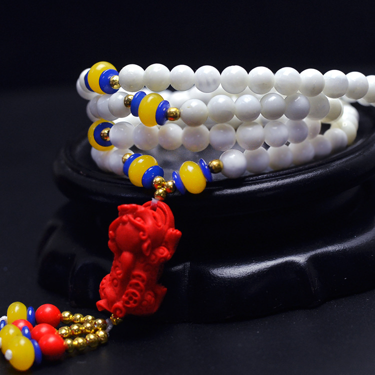Натуральный белый камень 6 мм 108 Бусины Многослойные Браслеты многоцветный камень Модный Лидер продаж Женский DIY Браслеты