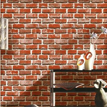 3D Stones Bricks Pattern Wallpaper Living Room Cafe Bar Decor Waterproof Decor Wallpaper /Gray Red Bricks Home improvement