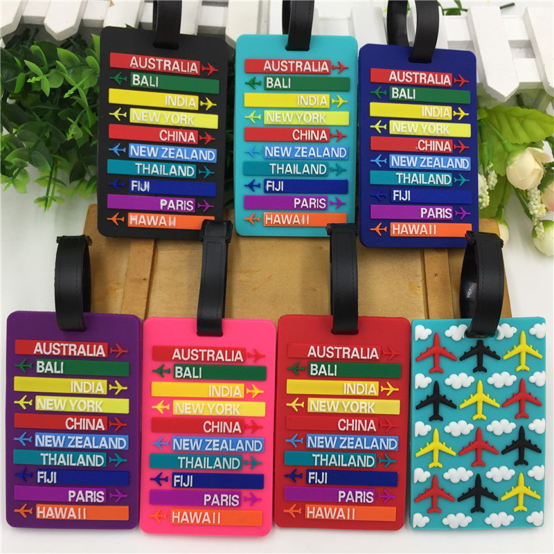 2018 New Worldwide City Name PVC Luggage Tag Fashion Letters Address Holder Baggage Label Silicone Identifier Travel Accessories