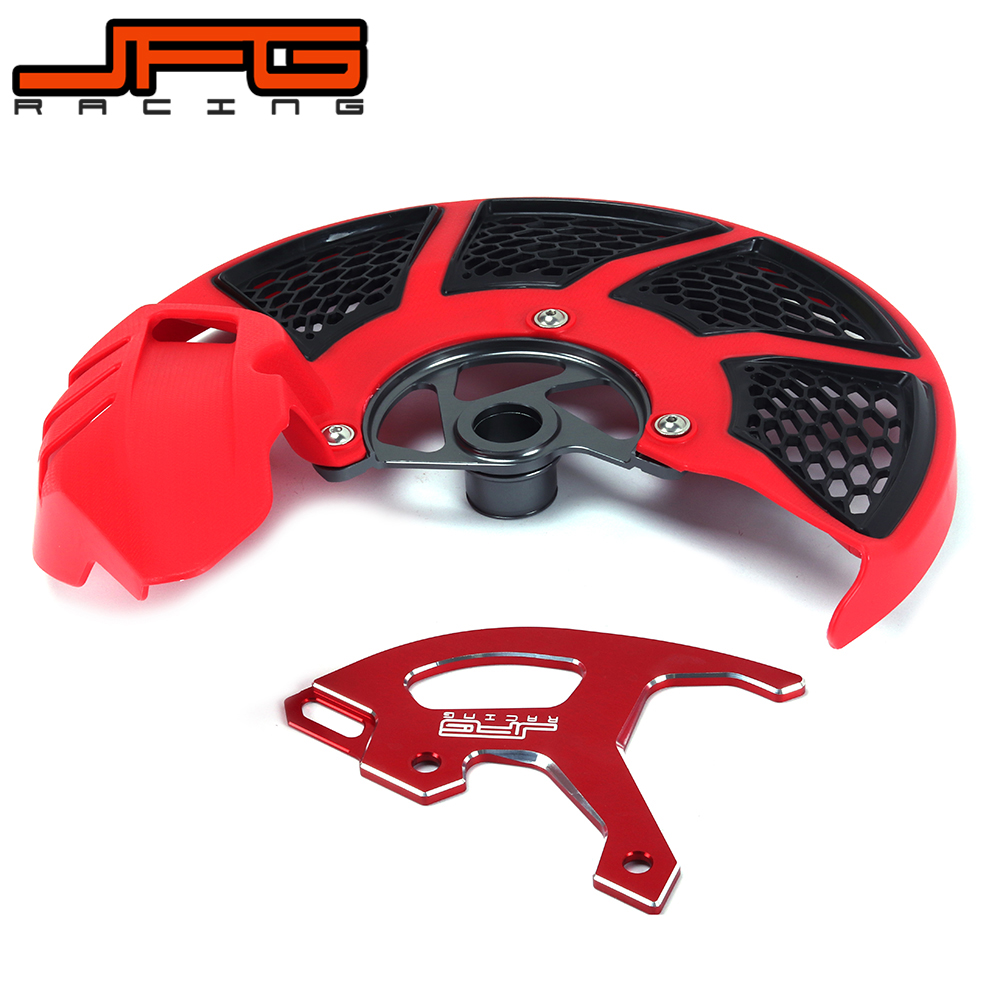 A Set Front & Rear Brake Disc Rotor Guard Protective Cover For HONDA CR 125R 250R CRF250R CRF450R CRF 250R 450R 250X 450R crf250r 250x 450r 450x dirt bike motocross enduro modify cnc billet part brake reservoir cover brake hose clamp engine plugs kit