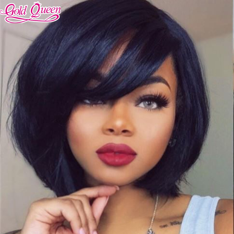 3cbd80e16 NEW 10-12inch Bob Short Cut Full Lace Human Hair Wig&Lace Front Human Hair  Wig with Bangs for Black Women Bob Wigs Free Shipping