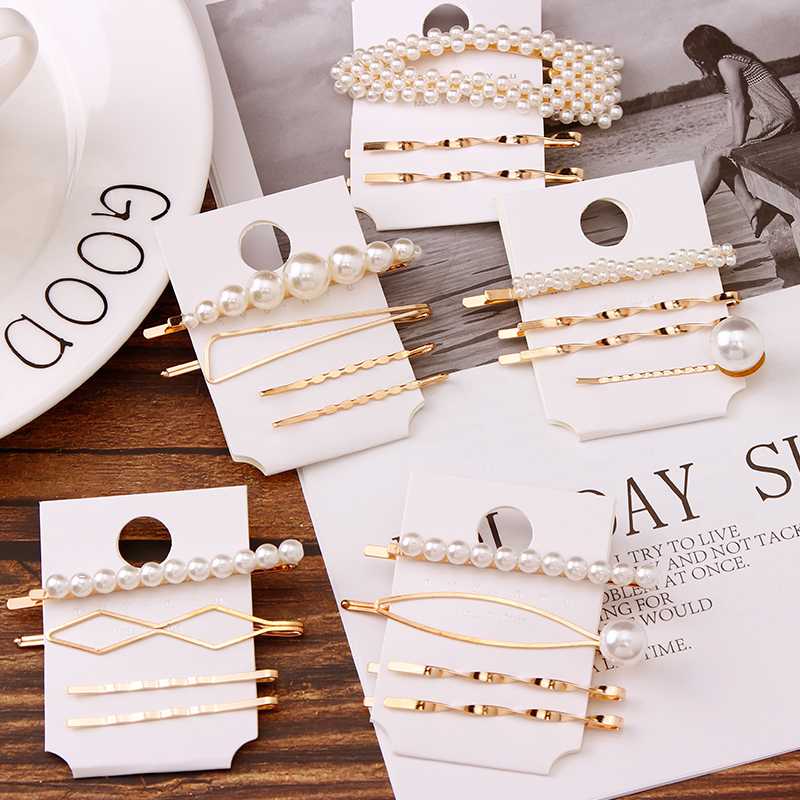 1Set Women Elegant Gold Color Alloy Pearl Hair Clips For Girls Cute Hairpin   Headwear   Barrettes Headband Fashion Hair Accessories
