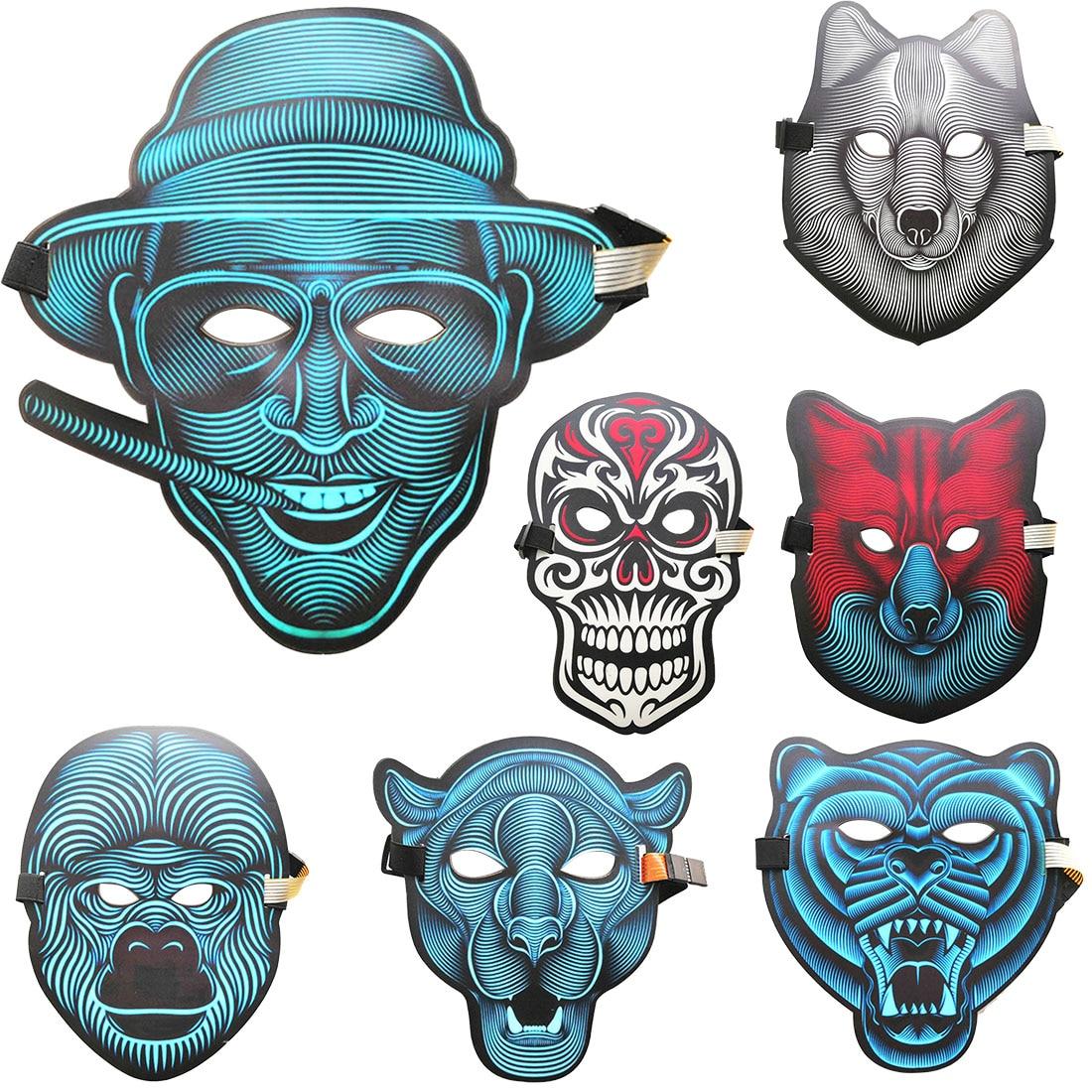 Partei Masken Stimme Sound Control LED Volle Gesicht Maske Horror Grimasse Biegsamen Kühlen Licht Halloween Kostüm Glow Blazing In Dark