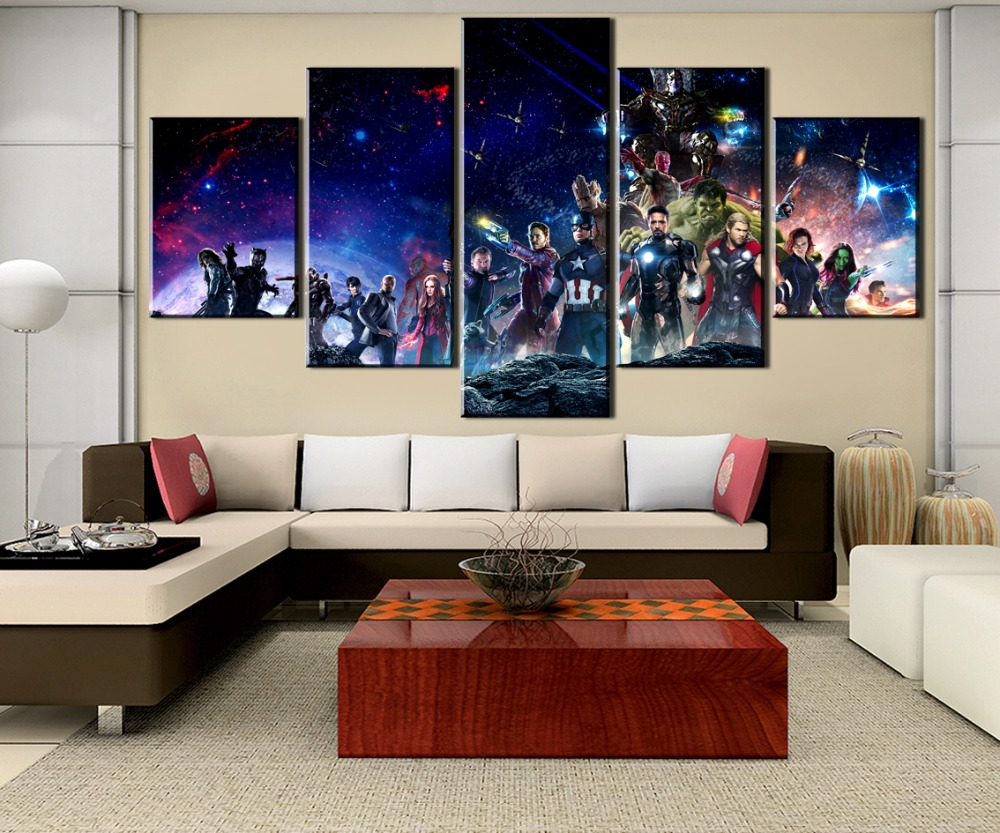 Avengers Infinity War Movie Wall Art Canvas Painting HD Print 5 Piece For Living Room Modern Artwork