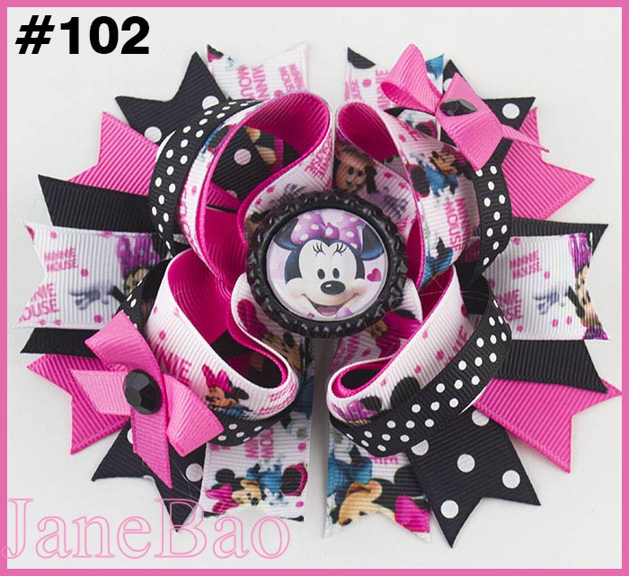 free shipping 2018 Newest 50pcs 5 5 inspired hair bows popular cartoon hair bow with lined