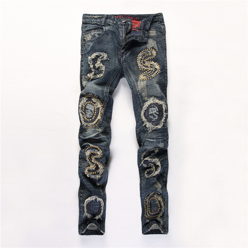 Cool 2017 Mens Jeans Men's Designer Trousers Holes Biker Distressed Jean Casual Skinny Hip Hop Ripped Men Motorcycle Track Pants biker ripped jeans for men brand designer clothing skinny casual pants trousers masculina pantalones hombre vaqueros distressed