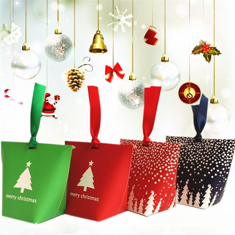 24pcs Christmas Tree Gift Box Chocolate Cookies Food Present Packing Box Christams Favours New Year Party Souvenirs