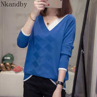 Plus Size Argyle V neck Pullover Women Sweater Autumn Winter fashion Loose Korean patchwork Knit Tops oversize Knitwear Jumpers
