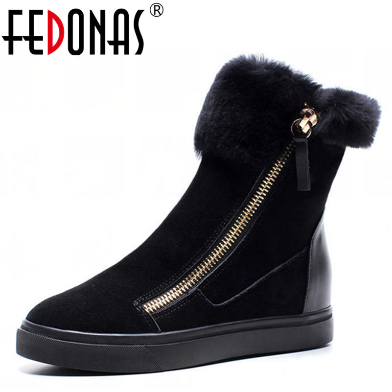 FEDONAS Top Quality Cow Suede Genuine Leather Warm Wool Plush Snow Boots Women Wedges Heels Zipper