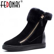 FEDONAS Top qualité vache daim cuir véritable laine chaude + peluche bottes de neige femmes compensées talons fermeture éclair bottines chaussures femme
