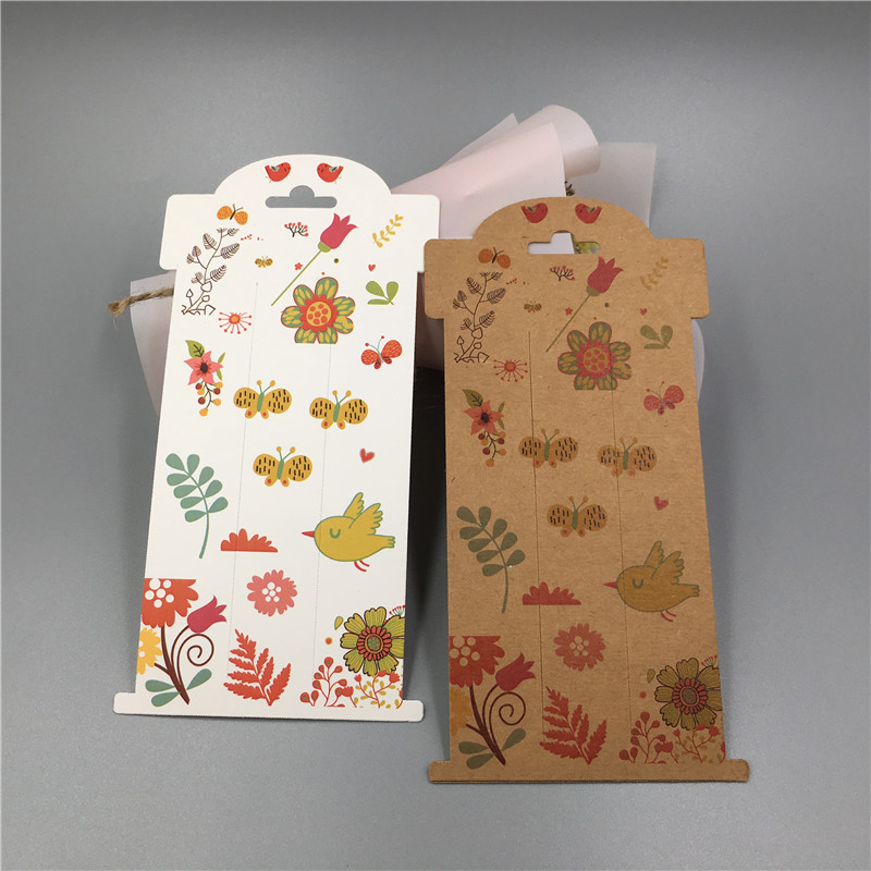 50Pcs Kraft Paper Jewelry Hairpin Display Card Handmade Fashion Hair Accessories Packaging Paper Card 16x8cm