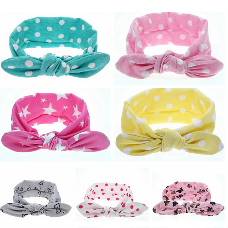 TWDVS Baby Headwear Girl Dot Knot Headband Newborn Infant Hair Accessories Children Elastic Hair Bands Photography Props KT001