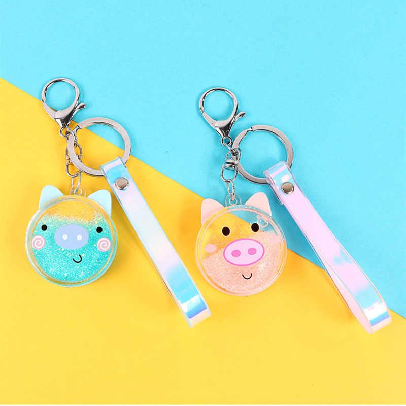 Cartoon Bear Pig Powder Moving Liquid Key Ring Fantasy keychain Glitter Quicksand Star Key Chain Car Key Pendant Birthday Gift