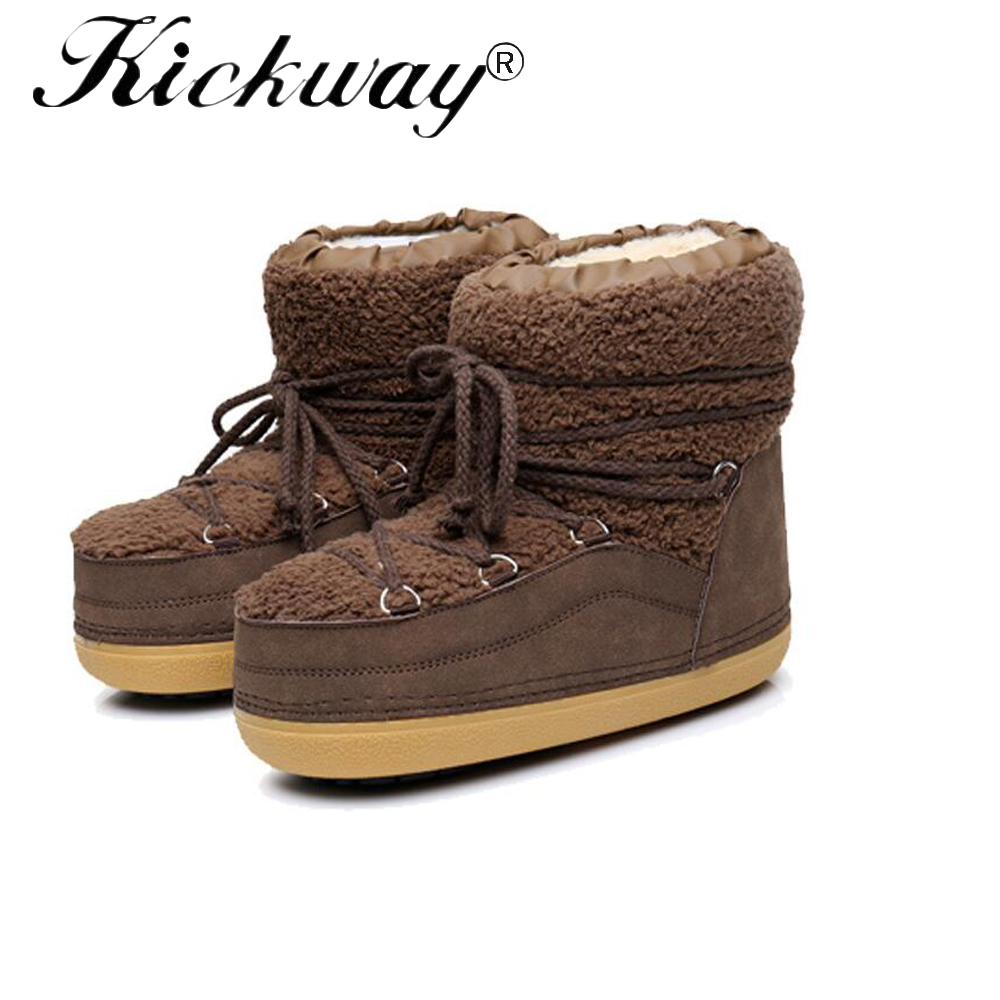 Kickway New 2017 Snow Boots Platform Women Winter Shoes Waterproof Ankle Boots Lace Up Fur Boots Flat Warm Snow Shoes For Ladies platform bowkont flocking snow boots