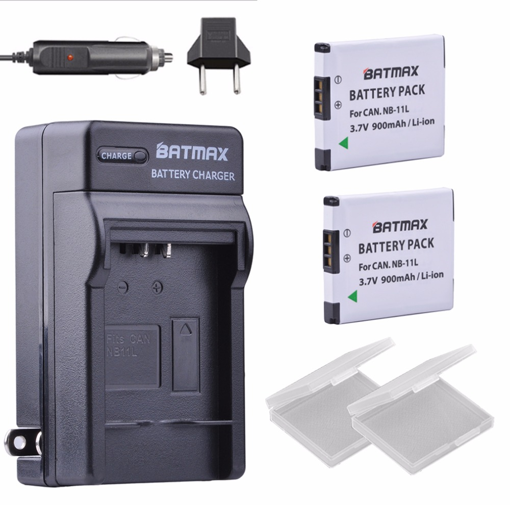 NB-11L / NB-11LH Ultra High Capacity 900mAh Battery& Wall <font><b>Charger</b></font> for <font><b>Canon</b></font> PowerShot A2300 IS, A2400 IS, <font><b>A2500</b></font> Cameras(2 pack) image