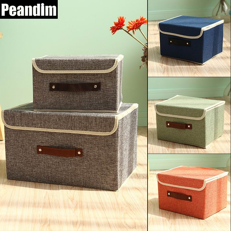 PEANDIM Folding Solid Color Sundries Storage Box Container Cotton And Linen Closet Boxes For Clothing Socks Organizer