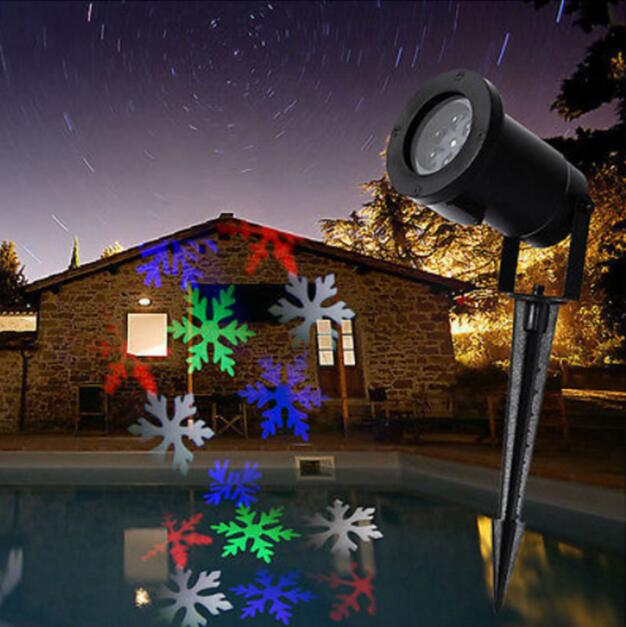 auto moving white colorful snowflakes christmas holiday lights outdoor waterproof projection snow lights 110v 220v
