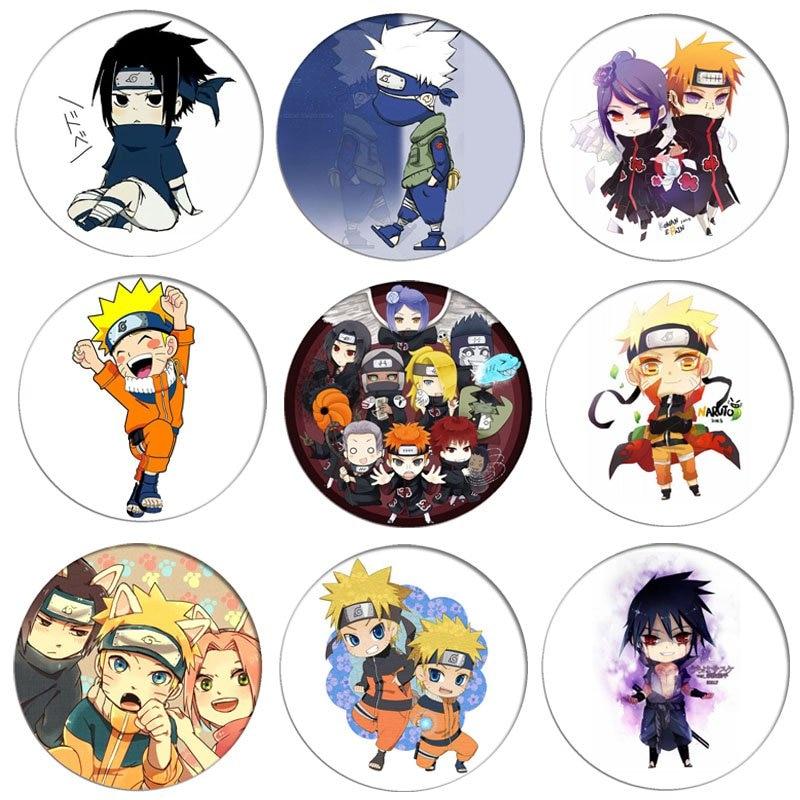 1pcs Naruto Cosplay Badge Uchiha Sasuke Akatsuki Q Version Brooch Pin Hatake Kakash Cute Collection Badge For Backpack Clothes