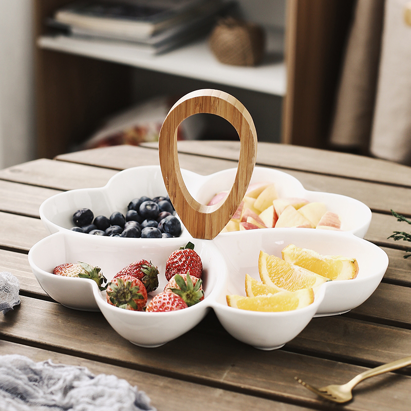 Creative Fruit Disk Dessert Plate Ceramic Modern Living Room Dried Fruit Dish Hand held Fractional Candy