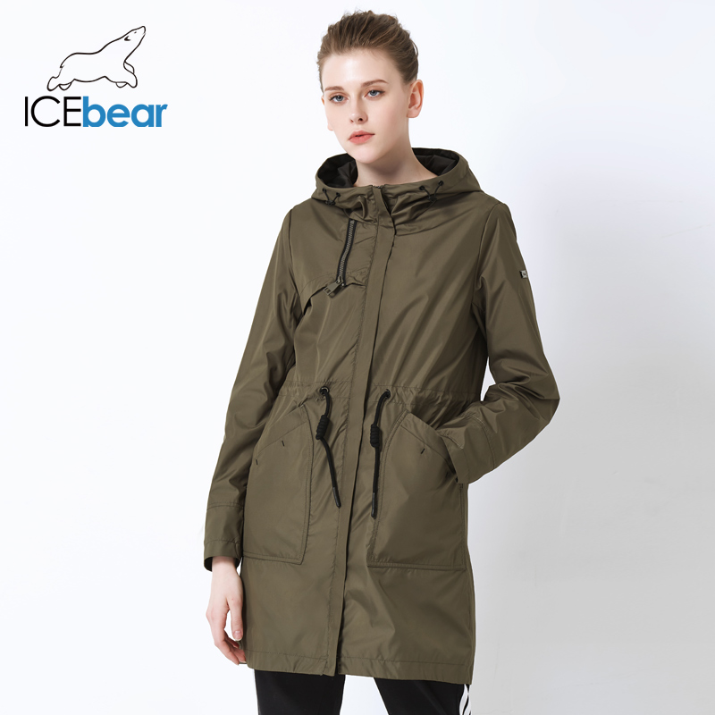 ICEbear 2019 spring new ladies windbreaker hooded ladies jacket fashion casual women's clothing loose long clothing GWF19023I