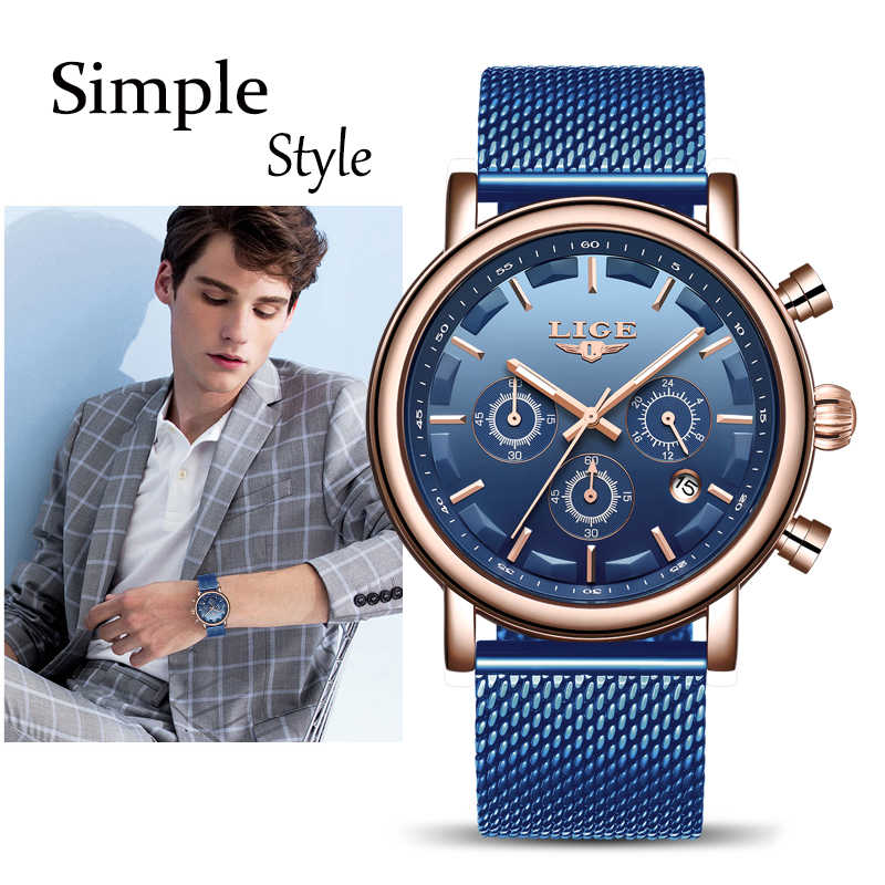 New LIGE Men's Watches Top Brand Luxury Sports Waterproof Watch Men Business Full Steel Luminous Chronograph Relogio Masculino