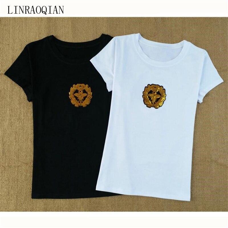 Cotton Tshirt Women Tops Honeybee Sequins Embroidery T Shirt Women Short  Sleeve Summer Top Tee Shirt ddad71d2d57c