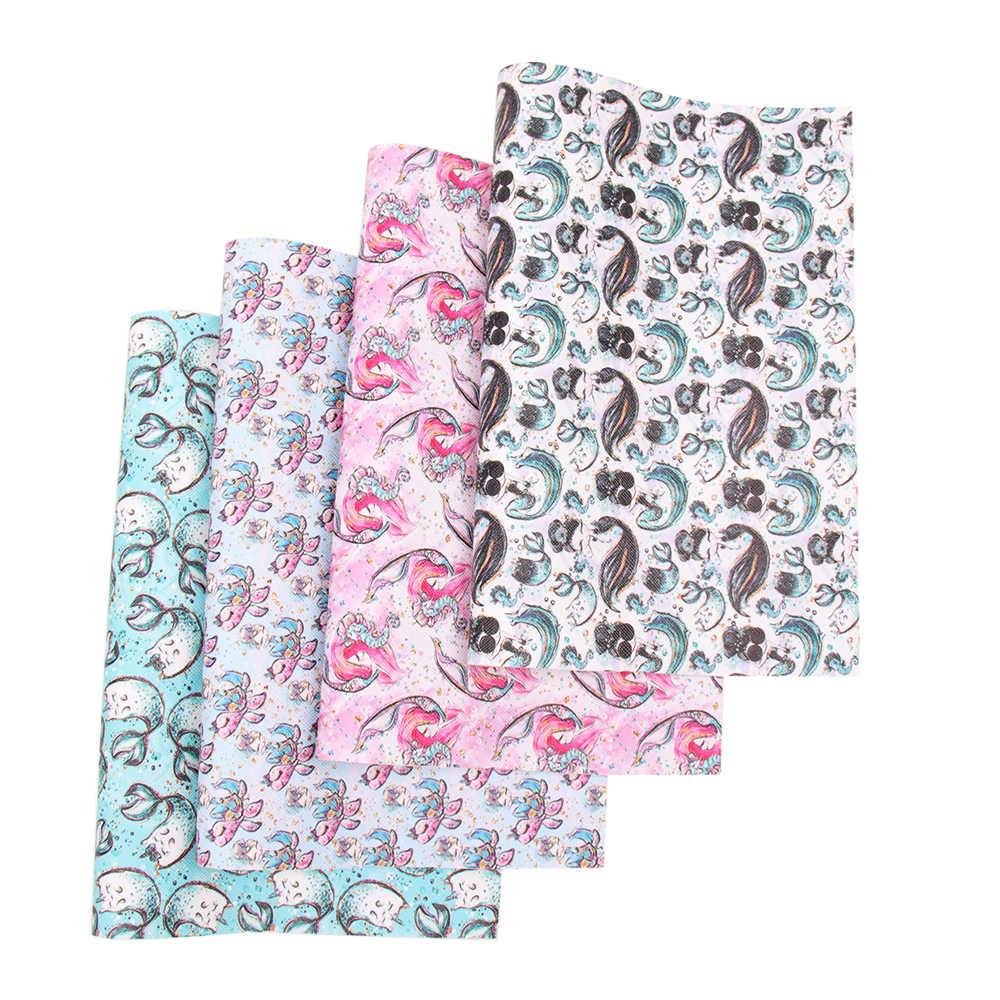 Jojo arcos 22*30cm 1pc tecido de couro sintético para ofícios sereia impresso folha do falso para materiais de costura do vestuário do saco do bordado