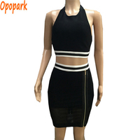 2015 New Women Two Pieces Backless Sexy Bandage Dress Halter Black With White Stripes Decoration Party