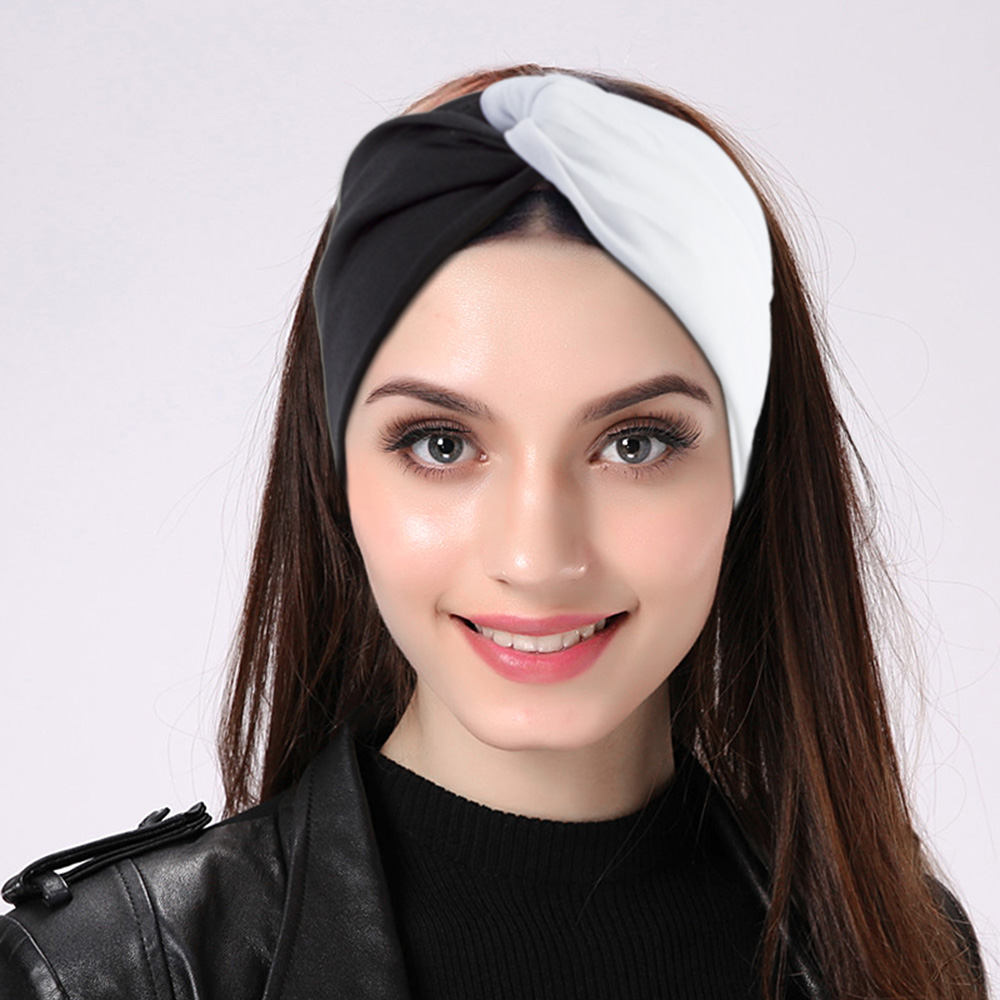 Girl's Accessories Fashion Wide Patchwork Cotton Headband For Women Lady Plain Fabric Yoga Sport Elastic Hairband Turban Headwrap Hair Accessories