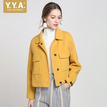 Top Brand Double-faced Wool Overcoat Women Autumn Winter Solid Long Sleeve Short Coats Female Elegant Slim Jacket Yellow