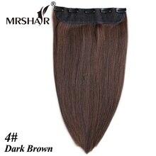 """Mrshair 4 # клип в волос 1 компл. 18 """"22"""" человеческих волос cheveux расширения темно-коричневый волосы прямые зажим для волос Cabelo Tic Tac парики"""