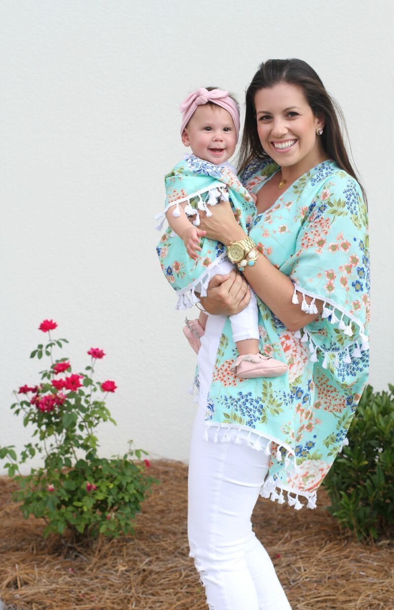 Women Mother Daughter Boho Beachwear Cover Up Family Matching Outfits Floral Kimono Cardigan Summer Tops Family Matching Outfits